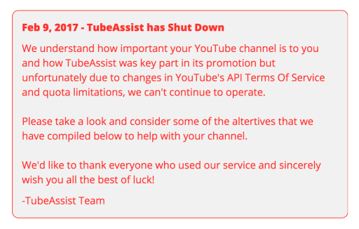 tubeassist shutdown